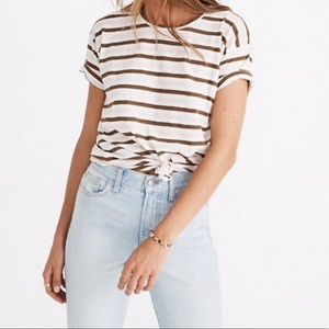 Madewell Striped Tie Front Tee
